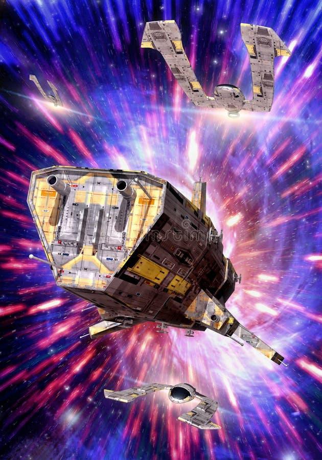 Nave espacial e hyperspace ilustração royalty free