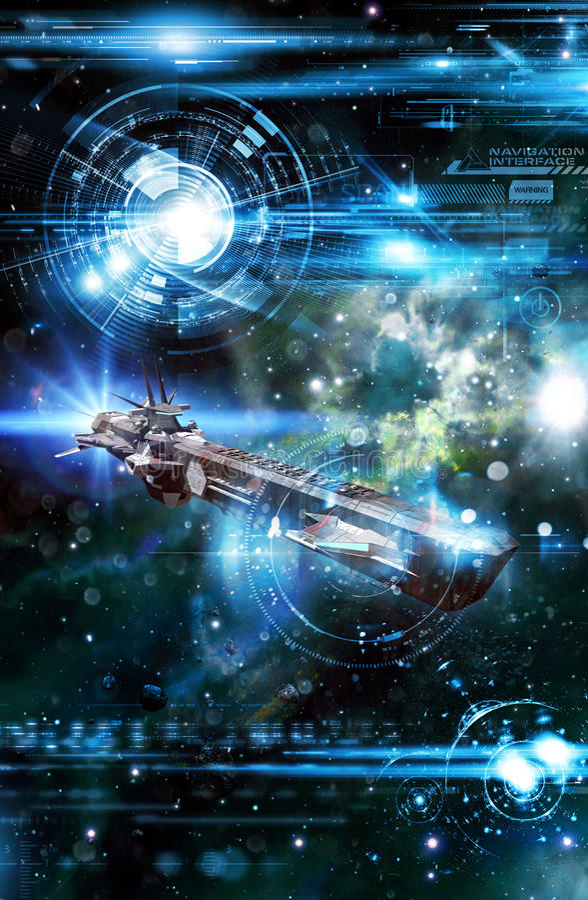 Nave espacial e interfaz de la navegación stock de ilustración