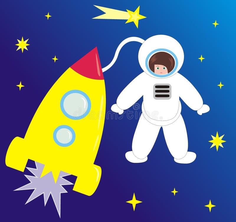 Nave espacial e o astronauta ilustração royalty free