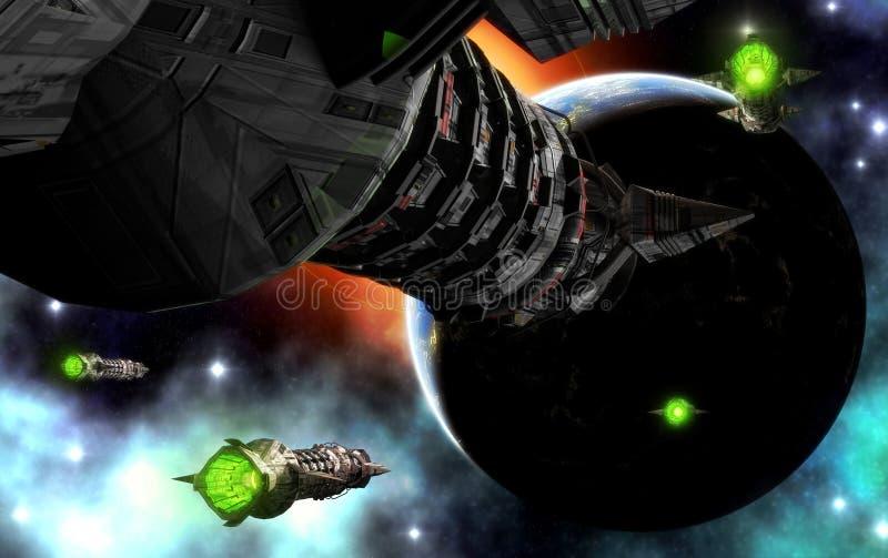 Nave espacial e planeta ilustração do vetor