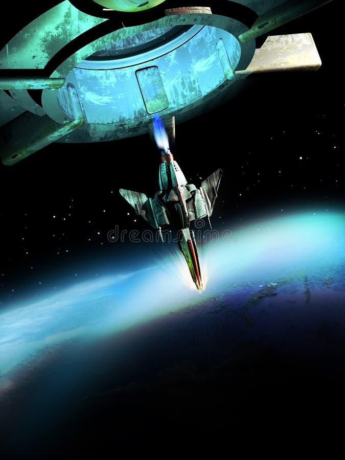 Nave espacial e planeta ilustração royalty free