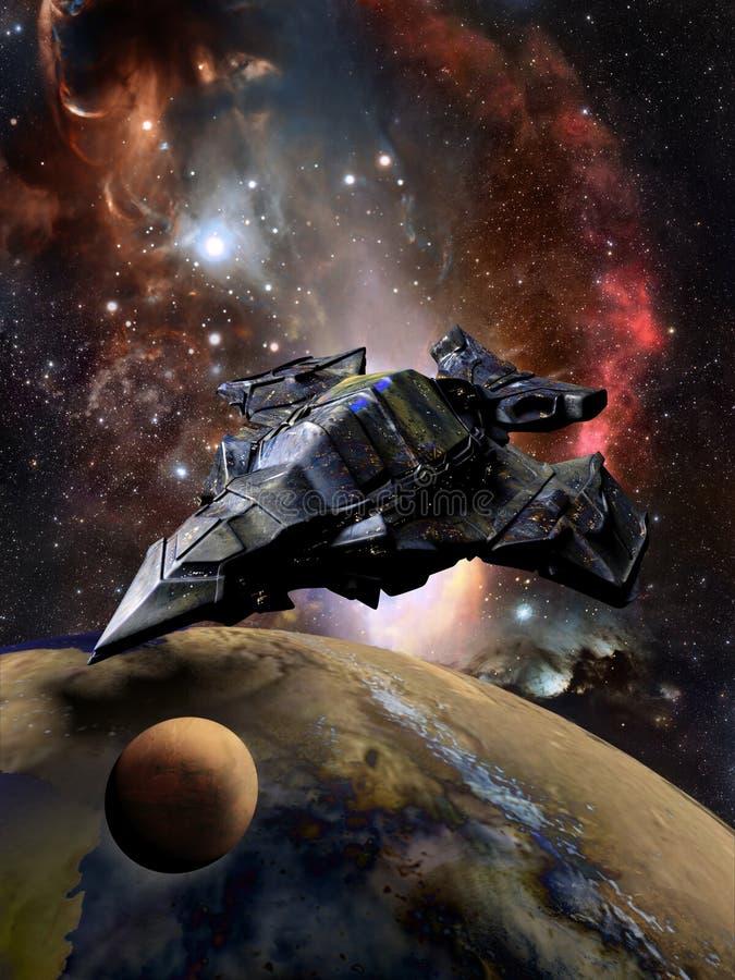 Nave espacial e planeta gigantescos ilustração stock