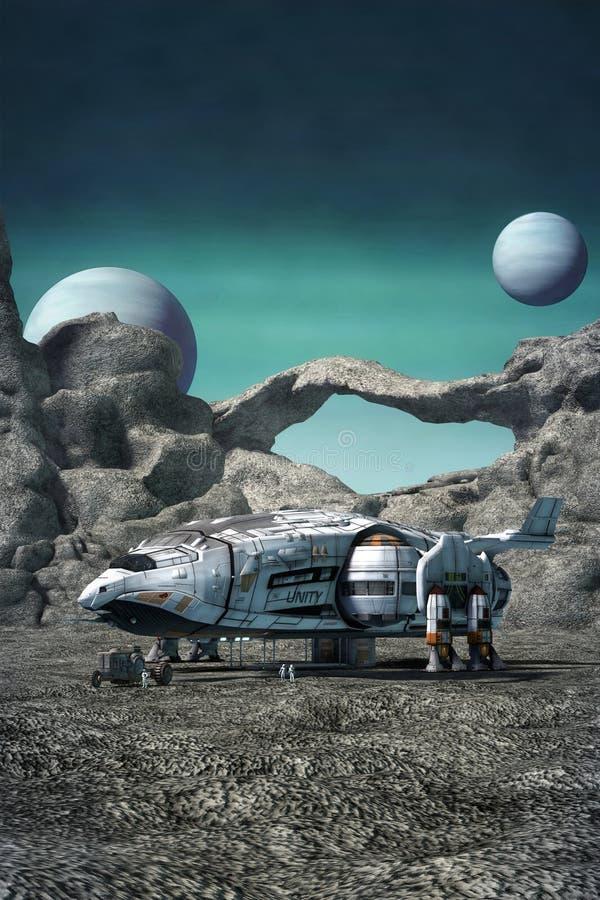 Nave espacial em um planeta estrangeiro ilustração stock