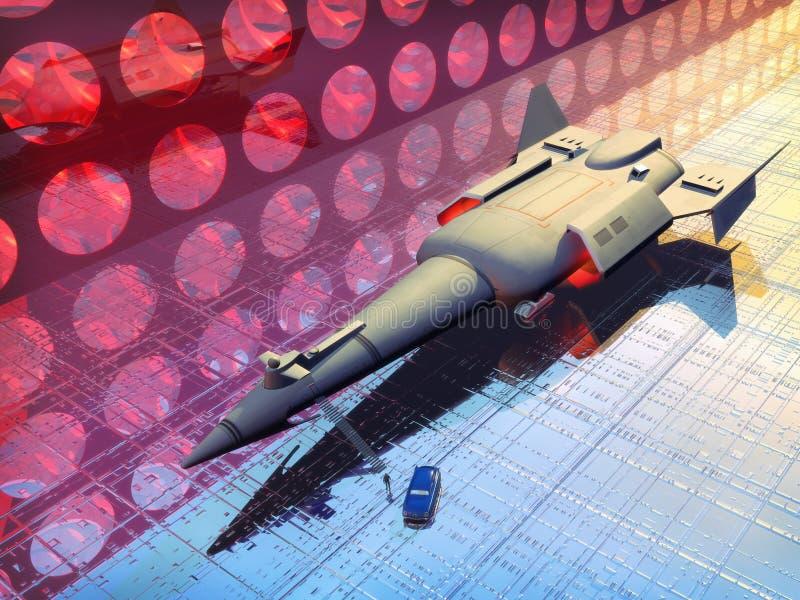 Nave espacial en acceso del espacio stock de ilustración