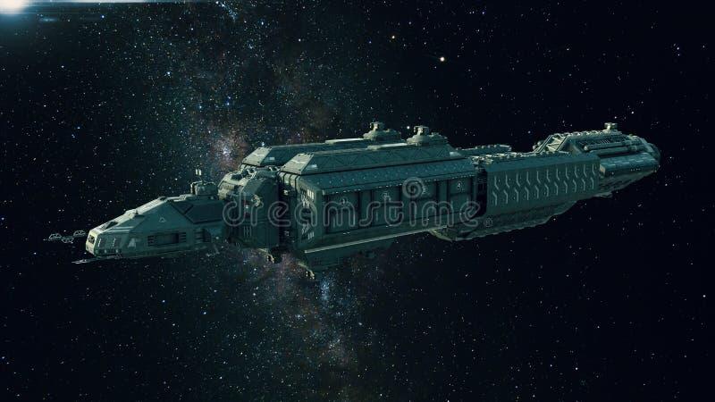Nave espacial en el espacio, vuelo de la nave espacial a través del universo stock de ilustración
