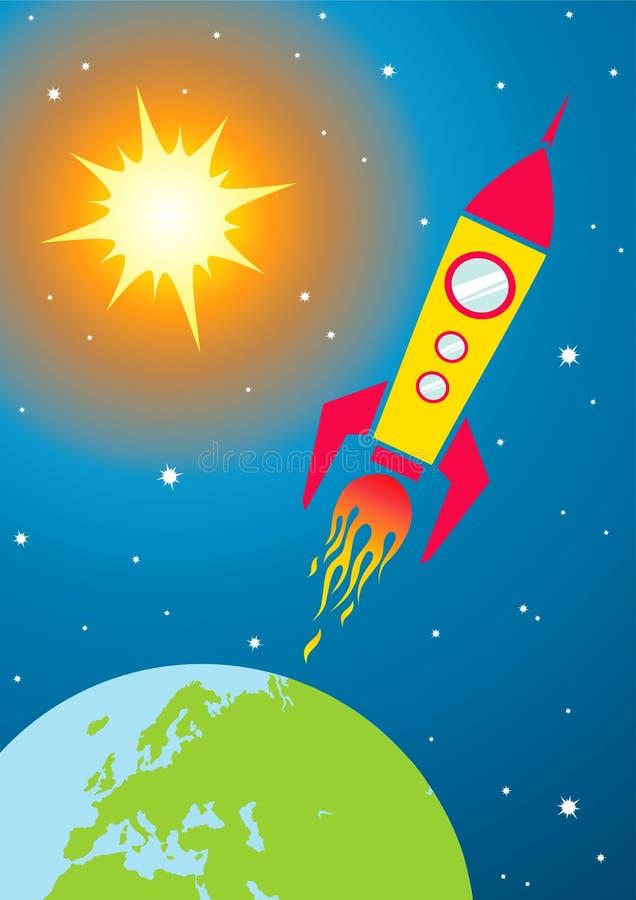 Nave espacial en espacio libre illustration