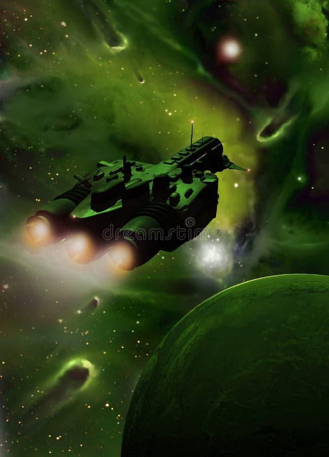 Nave espacial en la nebulosa verde libre illustration
