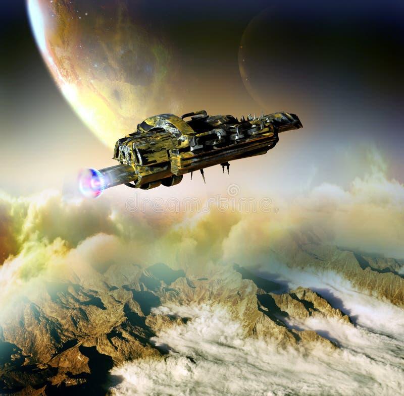 Nave espacial en mundos lejanos libre illustration