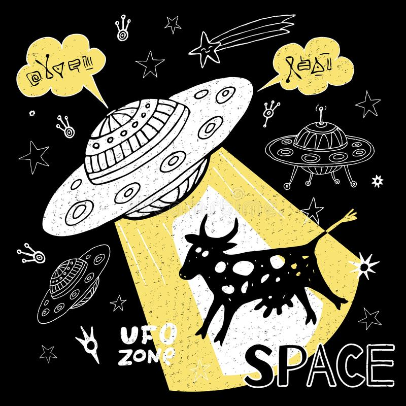 Nave espacial engra?ada das estrelas do espa?o da vaca da abduc??o do UFO para a tampa, mat?ria t?xtil, camisa de t Ilustra??o de ilustração do vetor