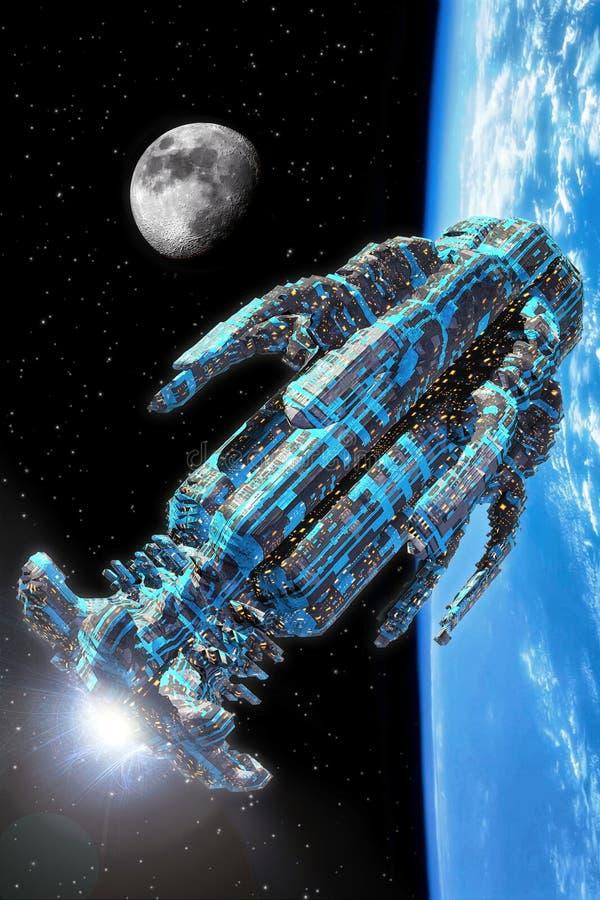 Nave espacial estrangeira ilustração royalty free