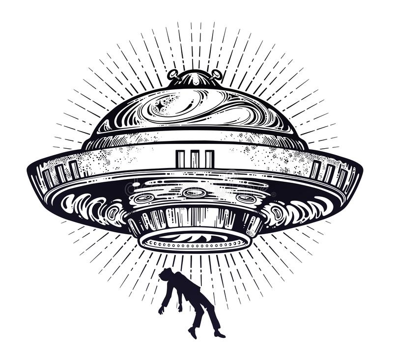 Nave espacial estrangeira fantástica Abducção do UFO de um ser humano com ícone dos pires de voo ilustração do vetor