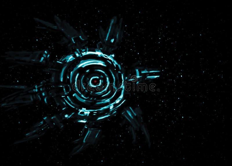 Nave espacial estrangeira na perspectiva das estrelas ilustração royalty free