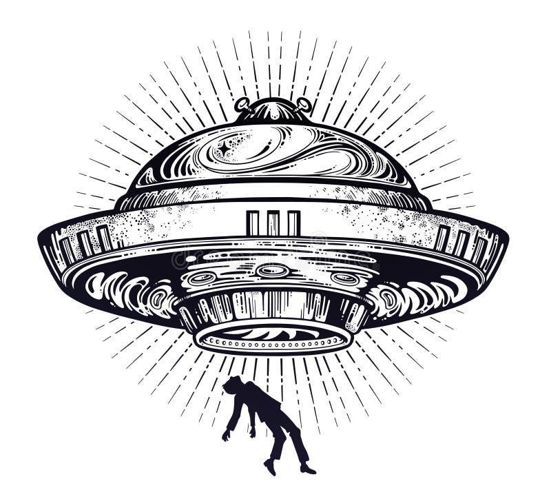 Nave espacial extranjera fantástica Abducción del UFO de un ser humano con el icono del platillo volante ilustración del vector