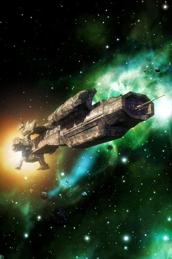 Nave espacial extranjera grande stock de ilustración