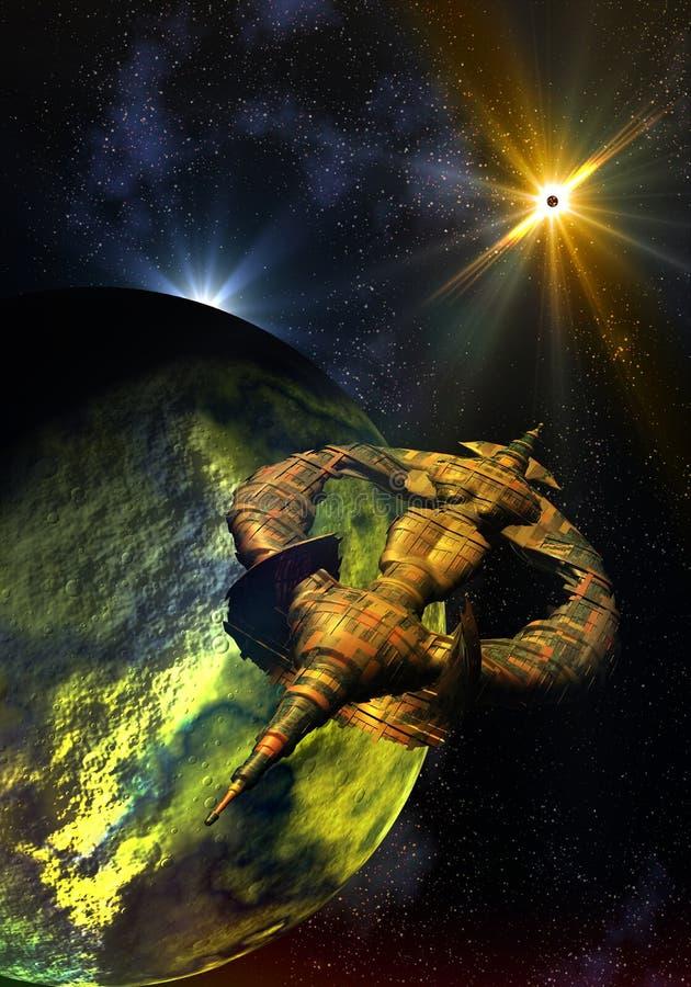 Nave espacial extranjera que viaja a través de espacio stock de ilustración