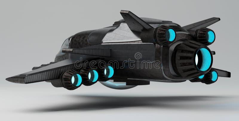 Nave espacial futurista aislada en la representación gris del fondo 3D stock de ilustración