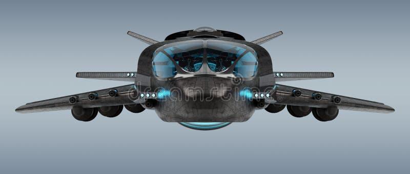 Nave espacial futurista aislada en la representación gris del fondo 3D ilustración del vector