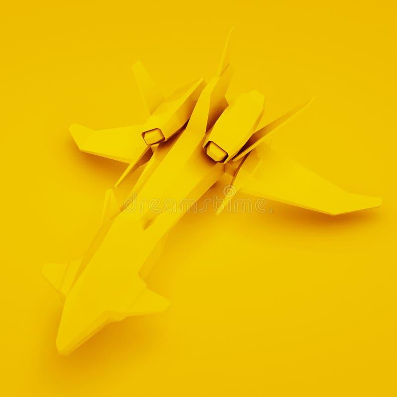 Nave espacial futurista amarilla representaci?n 3d stock de ilustración