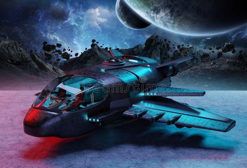 Nave espacial futurista en elementos de la representación del fondo 3D del planeta stock de ilustración