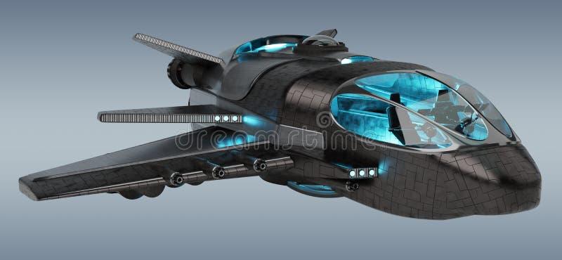 Nave espacial futurista en la representación gris del fondo 3D stock de ilustración