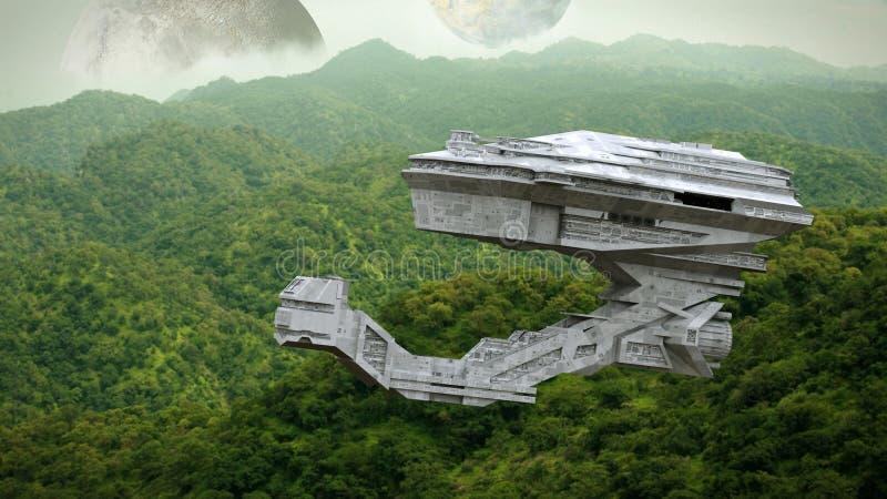 Nave espacial futurista que vuela sobre la superficie de un mundo extranjero, ejemplo del espacio de la ciencia ficción de la exp imagenes de archivo