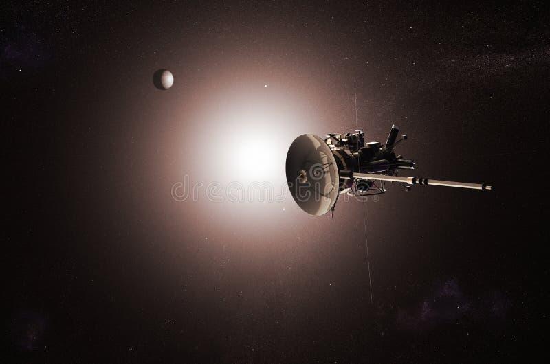 Nave espacial 2nãa pilotado que aproxima a lua ilustração do vetor