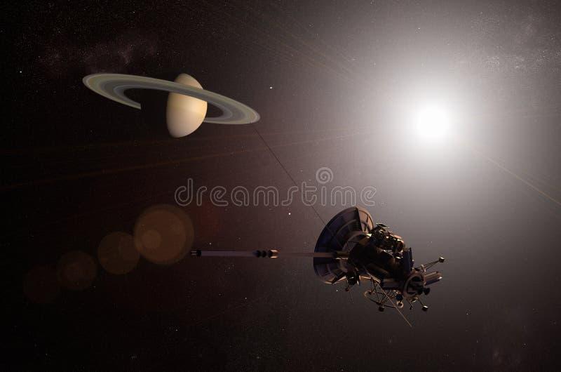 Nave espacial 2nãa pilotado que aproxima o planeta Saturn ilustração royalty free