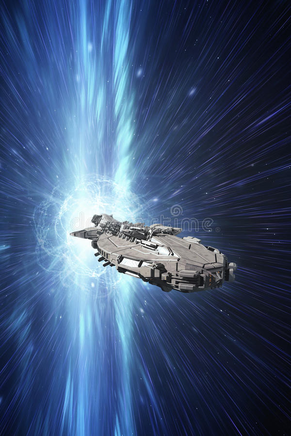 Nave espacial na velocidade da luz ilustração do vetor