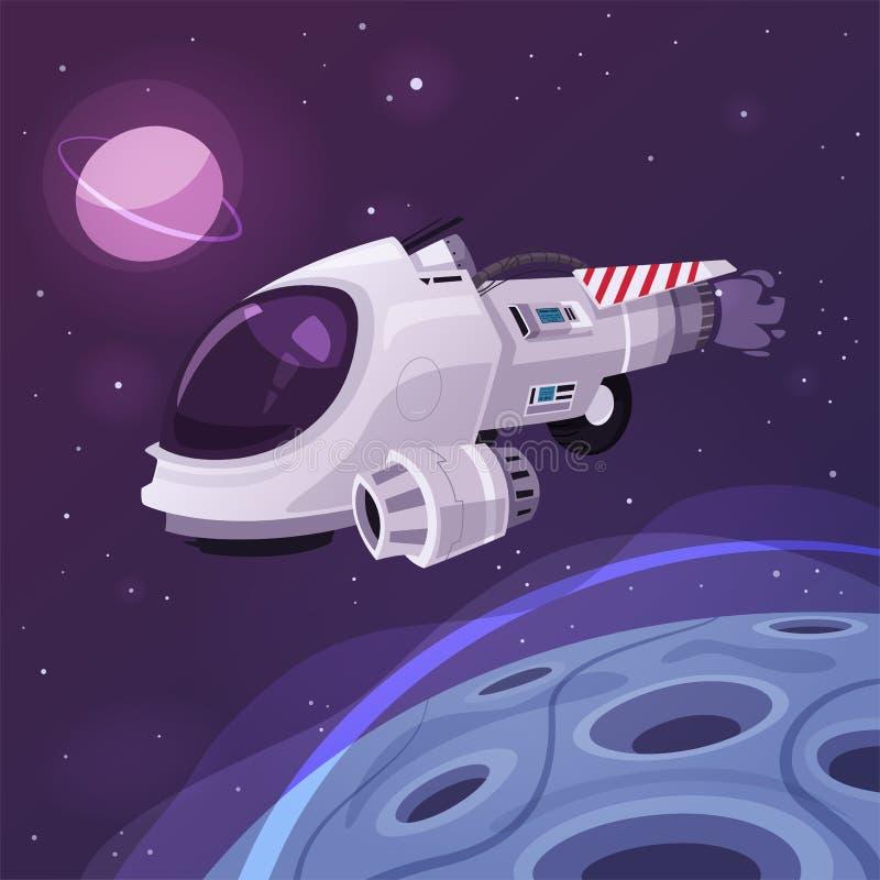 Nave espacial no espaço Ilustração do vetor dos desenhos animados ilustração stock