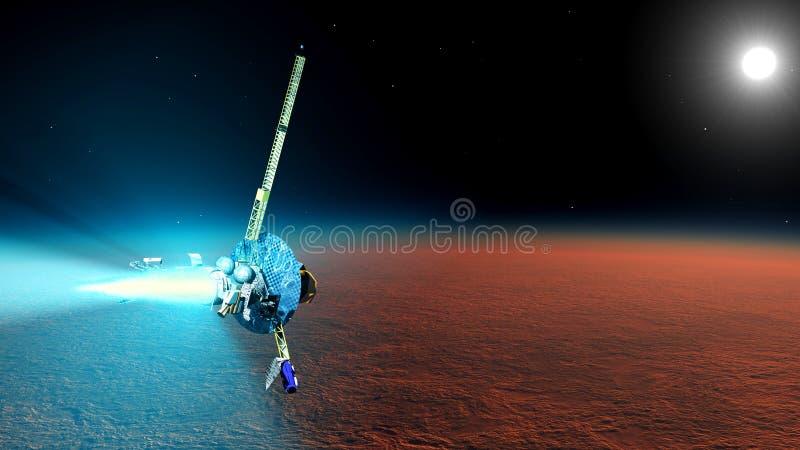 A nave espacial perto de Marte ilustração royalty free