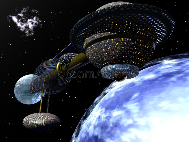 Nave espacial que mueve en órbita alrededor del planeta azul stock de ilustración