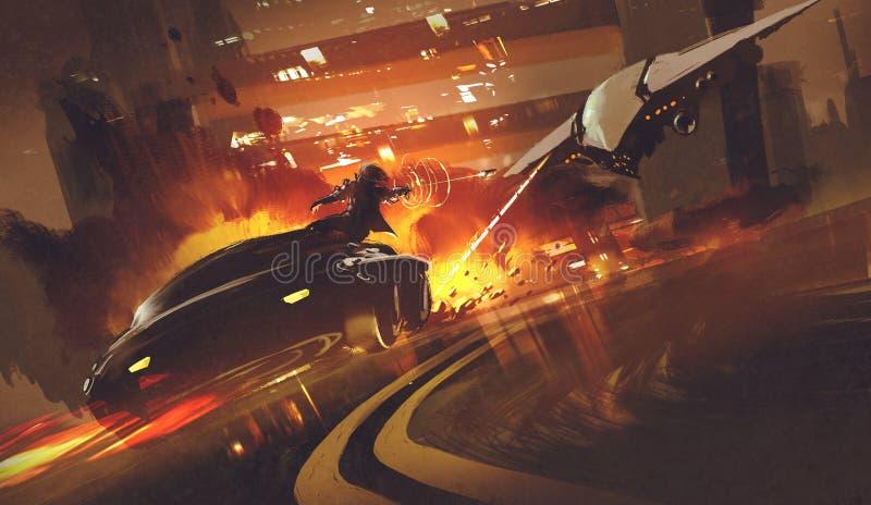 Nave espacial que persigue el coche futurista en la carretera, stock de ilustración
