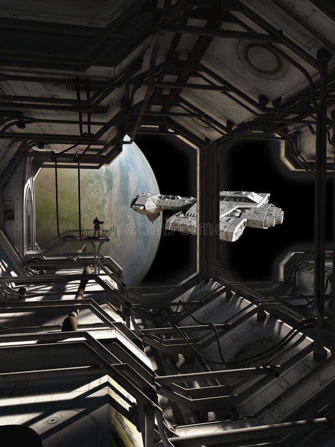 Nave espacial que sae das docas ilustração do vetor