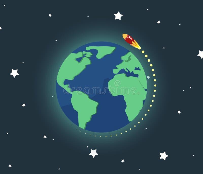 Nave espacial que vuela en todo el mundo ilustración del vector