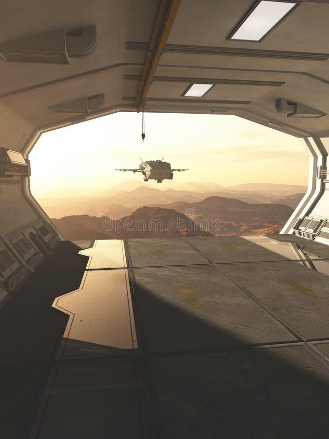 Nave espacial que vuelve para basar en un planeta rojo del desierto libre illustration