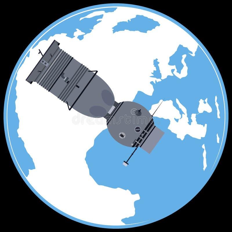 Nave espacial servida Soyuz 7K ilustración del vector