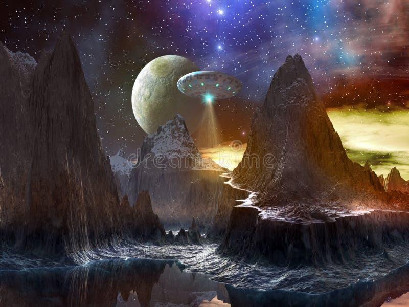 Nave espacial sobre el camino de la montaña en el mundo distante libre illustration