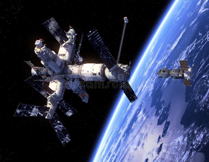 Nave espacial Soyuz e estação espacial. ilustração stock