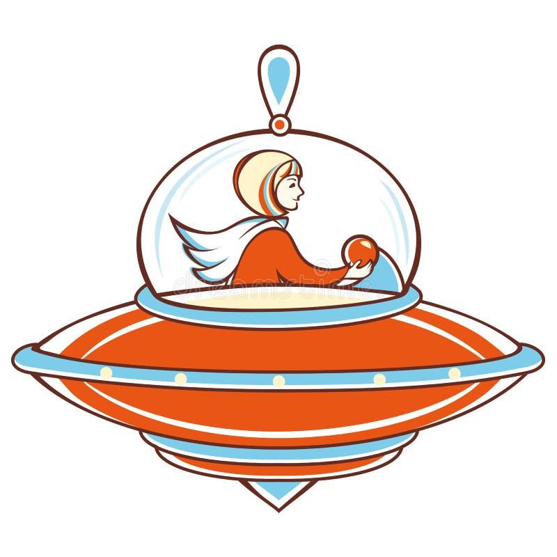 Nave espacial, UFO alaranjado, ilustração do vetor