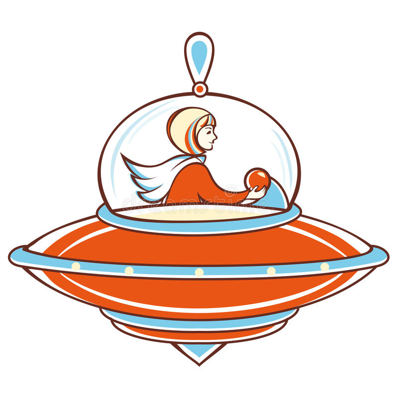 Nave espacial, UFO anaranjado, ilustración del vector