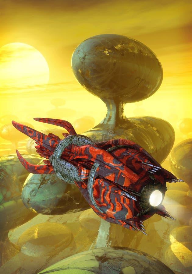 Nave espacial y ciudad futurista stock de ilustración