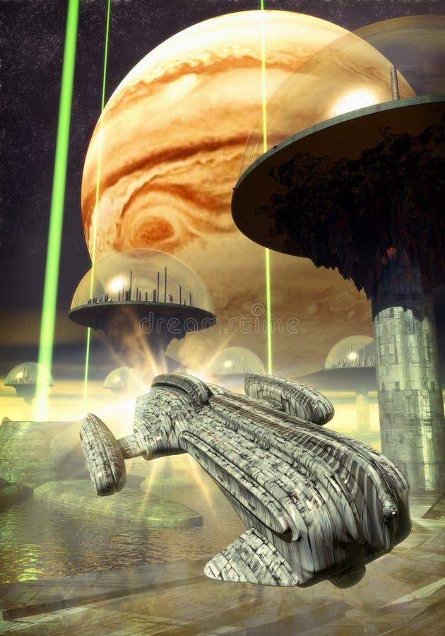 Nave espacial y ciudad futurista libre illustration