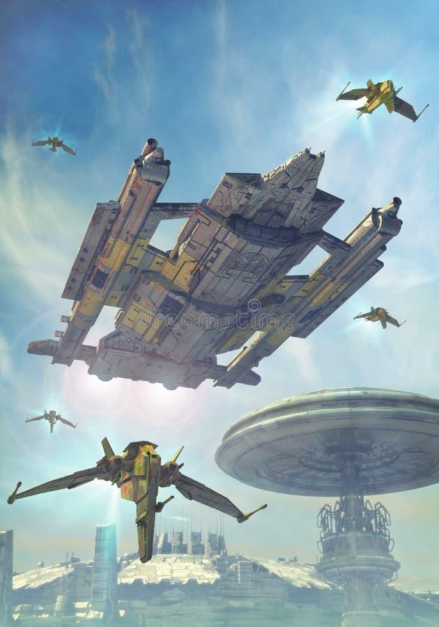 Nave espacial y ciudad futurista ilustración del vector