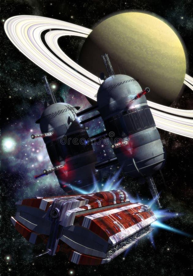 Nave espacial y estación espacial libre illustration