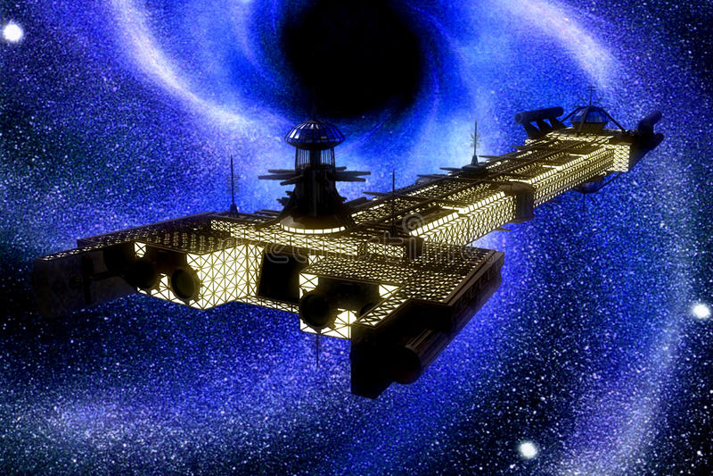 Nave espacial y estrellas stock de ilustración