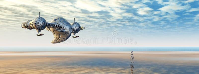 Nave espacial y extranjero en un mundo distante ilustración del vector