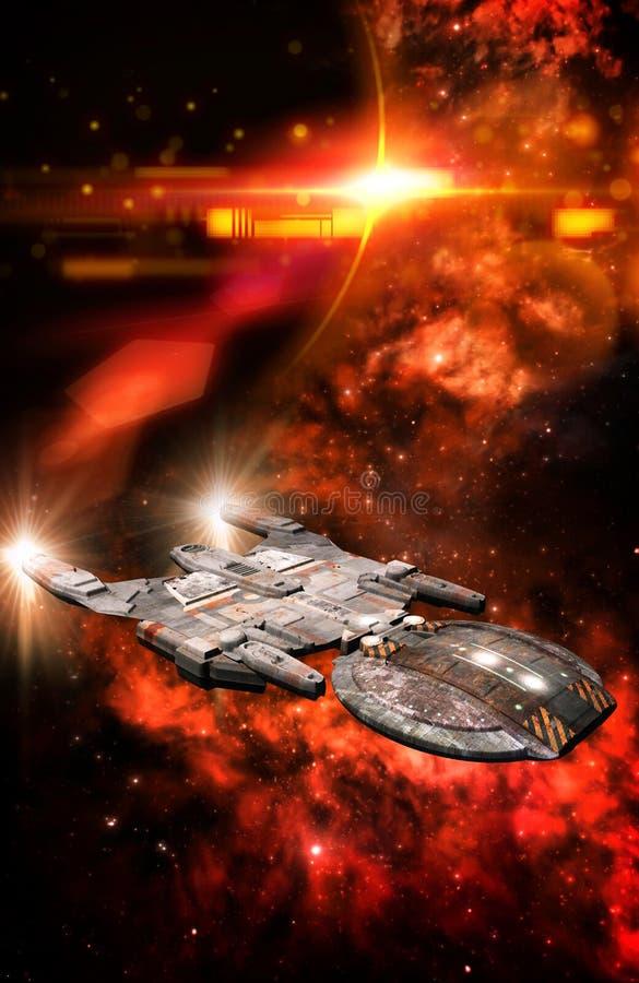 Nave espacial y nebulosa roja ilustración del vector