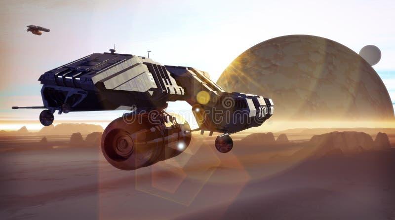 Nave espacial y planeta ilustración del vector