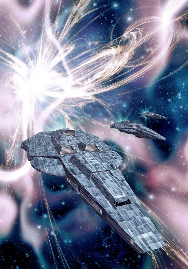 Nave espacial y supernova ilustración del vector