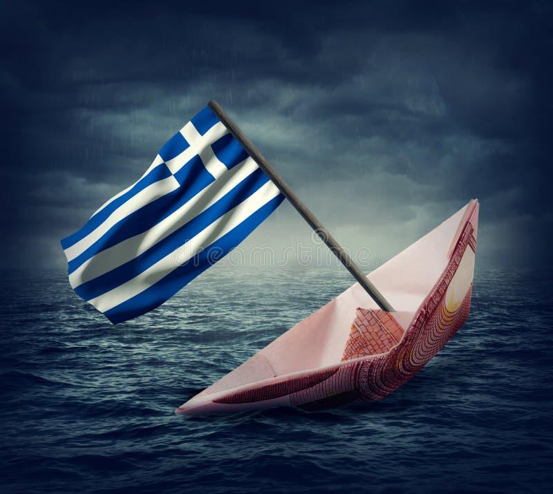 Nave euro d'affondamento con una bandiera della Grecia fotografia stock